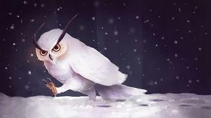 Превью обои сова, снег, арт, снегопад, шаги