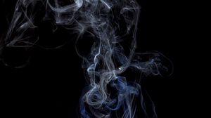 Превью обои спичка, дым, черный, темный