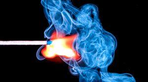 Превью обои спичка, дым, сгустки, огонь