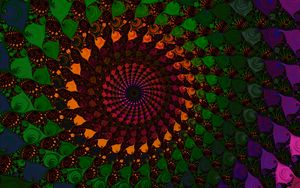 Превью обои спираль, фрактал, разноцветный, абстракция