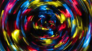 Превью обои спираль, свет, длинная выдержка, размытость, блики, разноцветный