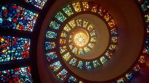 Превью обои спираль, свет, витражи, окна