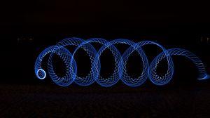 Превью обои спираль, светографика, синий
