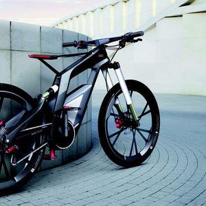 Превью обои спортивный, ауди, серый фон, велосипед