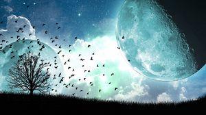 Превью обои спутник, луна, птицы, арт, дерево, полет