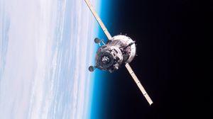 Превью обои спутник, орбита, полет, станция мкс, мир