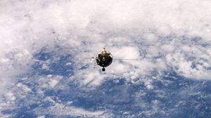 Превью обои спутник, орбита, полет, земля, планета, поверхность