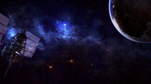 Превью обои спутник, планета, вселенная, звезды, туманность