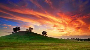 Превью обои сша, калифорния, закат, весна, май, небо, облака, поле, трава, деревья