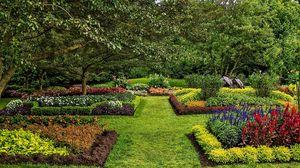 Превью обои сша, лонгвуд, кеннет сквер, газон, сад, кусты, трава