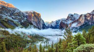 Превью обои сша, национальный парк йосемити, калифорния, горы, туман, деревья
