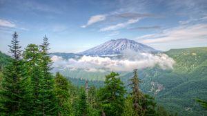 Превью обои сша, вашингтон, горы, деревья, туман, hdr