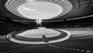 Превью обои стадион, трибуны, сидения, спорт, черно-белый