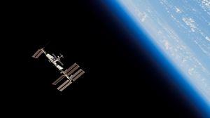 Превью обои станция мкс, космос, орбита, планета, земля