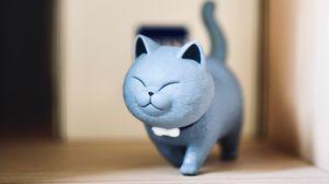 Превью обои статуэтка, кот, милый, забавный