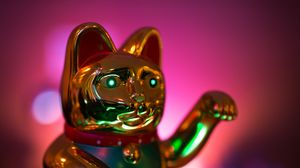 Превью обои статуэтка, кот, золотой, подсветка