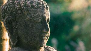 Превью обои статуя, будда, буддизм, каменный, скульптура