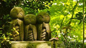 Превью обои статуя, буддизм, монахи, традиция, листья