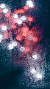 Превью обои стекло, мокрый, сердце, огни, размытость