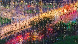 Превью обои стекло, влага, макро, разноцветный, свет