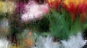 Превью обои стекло, влага, макро, размытость, пятна