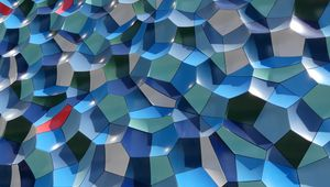 Превью обои стена, грани, фигуры, текстура, синий