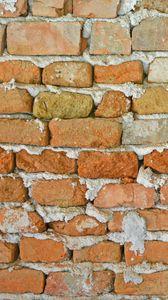 Превью обои стена, кирпич, поверхность, шершавый, коричневый