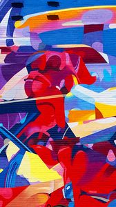 Превью обои стена, кирпичи, граффити, яркий, текстура