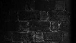 Превью обои стена, кирпичи, текстура, тень, чб
