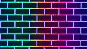 Превью обои стена, кирпичный, неон, свечение, разноцветный