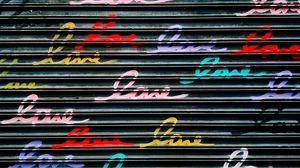 Превью обои стена, надписи, разноцветный, слова, текст