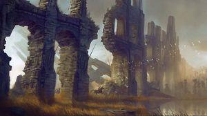 Превью обои стена, руины, всадники, птицы, пруд