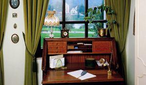 Превью обои стол, шторы, картины, бумаги, кабинет, интерьер