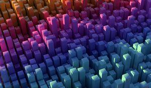 Превью обои столбы, квадраты, фигуры, объем, разноцветный, 3d
