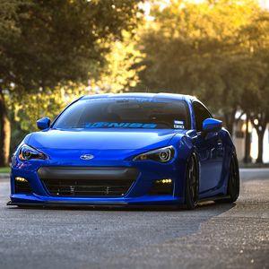 Превью обои subaru, brz, blue, front, субару, брз, спорткар, купе