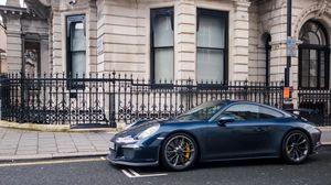 Превью обои supercar, 991, london, blue, gt3, porsche