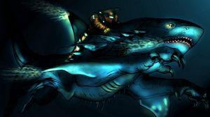 Превью обои существо, акула, вода, наездник