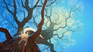 Превью обои существо, дерево, ползать, ствол, зверек