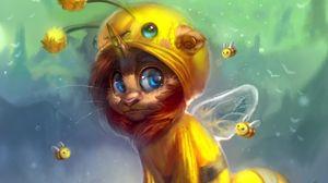 Превью обои существо, костюм, пчела, цветы, арт