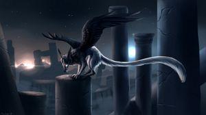 Превью обои существо, крылья, фантастический, арт, грусть, серый