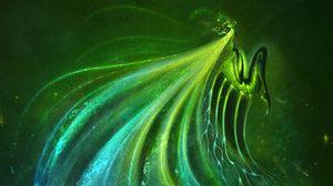 Превью обои существо, крылья, зеленый, арт