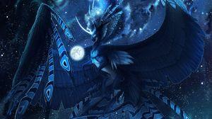 Превью обои существо, мистический, фантастический, полет, синий, единорог, птица