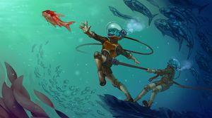 Превью обои существо, подводный мир, акваланг, арт