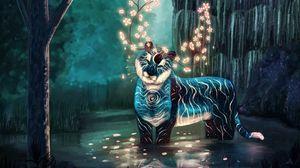 Превью обои существо, тигр, рога, фэнтези, свечение