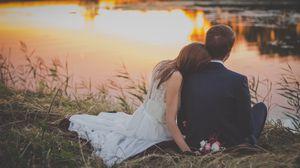 Превью обои свадьба, молодожены, пара, романтика, любовь