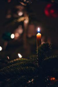 Превью обои свеча, огонь, елка, новый год, рождество