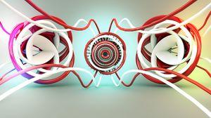 Превью обои свечение, красный, белый, запутанные линии, абстракция