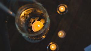 Превью обои свечи, банка, стекло, свет