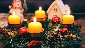 Превью обои свечи, рождество, шишки, ель