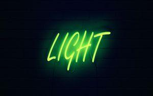Превью обои свет, неон, надпись, темный, желтый